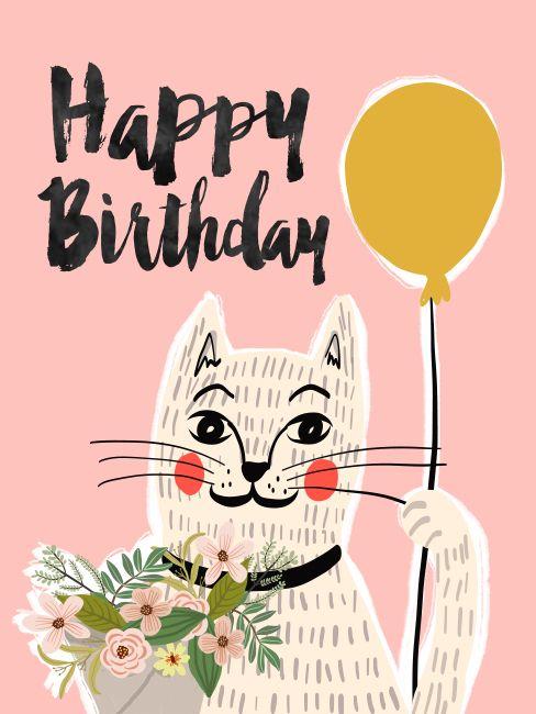 с днем рождения картинка с котом