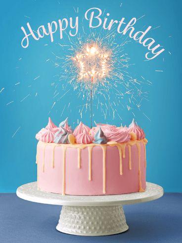 с днем рождения торт феерверк