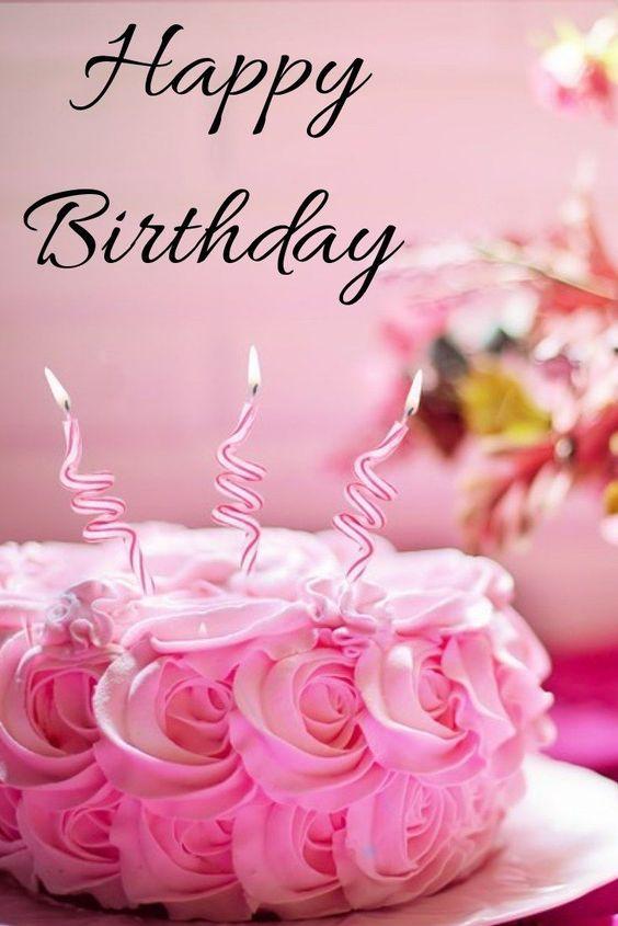 с днем рождения розовый торт свечи